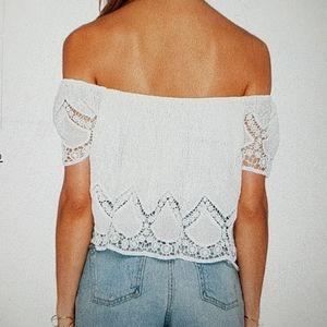 Lucy Paris Tops - Lucy Paris Blushing Lace Crop Top